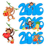 Vector set of funny monkeys, 2016 year. Vector illustration of funny monkey with a big heart and gift vector illustration