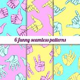 Vector set with funny seamless patterns Royalty Free Stock Photography