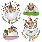 Vector set of funny sheep with different emotions. Cartoon characters. Royalty Free Stock Images