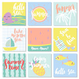 Vector set of funny summer cards. Beautiful summer posters with palm tree, whale, yacht, fish, phrases `Take me to the sea`, `Hello sea`, `Enjoy summer` and Royalty Free Stock Photos