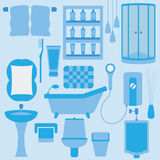 Vector set of furniture in bathroom Stock Image