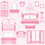 Vector set of furniture in bedroom Royalty Free Stock Photo