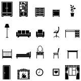 Vector set of 20 furniture icons vector illustration