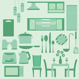 Vector set of furniture in kitchenroom Stock Image