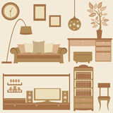 Vector set of furniture in living room Royalty Free Stock Images