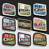 Vector set of Gambling Icons. 8 cut out decorative logos for online casino, collection of white and black gamble signages with lettering, set of isolated stock illustration