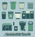 Vector Set: Garbage and Recycling Cans Royalty Free Stock Photo