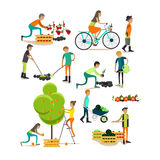 Vector set of garden people characters, icons in flat style Stock Photos