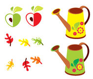 Vector set of garden - polyroll, apple and oak leaves Stock Image