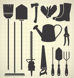 Vector Set: Garden Tools Silhouettes Royalty Free Stock Photos