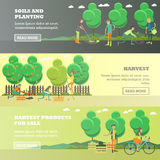 Vector set of gardening concept horizontal banners in flat style. Royalty Free Stock Images