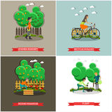 Vector set of gardening concept posters, banners, flat design. Vector set of gardening concept posters, banners. Summer resident, Bicycle holiday, Picking Royalty Free Stock Photography