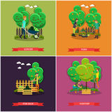 Vector set of gardening, farming concept posters, banners, flat design. Stock Image