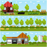 Vector set of gardening, harvesting and landscaping concept banners in flat style. Stock Photography