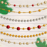 Vector set of garland beads. Garland beads vector set. Collection of beads garland Stock Image