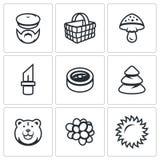Vector Set of Gathering in the Forest Icons. Mushroomer, Basket, Mushroom, Tool, Orientation, Forest, Predator, Fruit Stock Photo