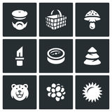 Vector Set of Gathering in the Forest Icons. Royalty Free Stock Photography