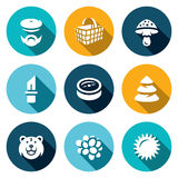 Vector Set of Gathering in the Forest Icons. Royalty Free Stock Photos