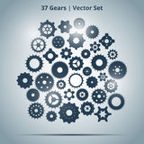 Vector set of 37 gears Stock Images