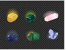 Vector set of gems, gemstone isolated on a transparent background. Royalty Free Stock Image