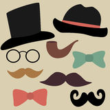 Vector Set for Gentelmen's Party: Glasses, Hats, Bow Ties, Tobac. Vector Set for Gentelmen's Party: Glasses, Hats, Bow Ties and Moustaches. Illustration for Royalty Free Stock Image