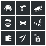 Vector Set of Gentleman Icons. Bowler, Cane, Shoes, Ethnicity, Butterfly, Cigar, Purse, Razor, Perfume. Stock Image