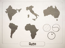 Vector set geographical countries, continents. And sports balls Royalty Free Stock Images