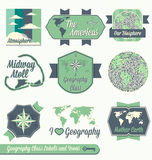 Vector Set: Geography Class Labels. Vintage style set of Geography back to school labels and icons Royalty Free Stock Images