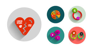 Vector set of geometric abstract flat icons Royalty Free Stock Photo