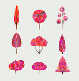 Vector set of geometric autumn trees on light background. Low poly style. Royalty Free Stock Photos