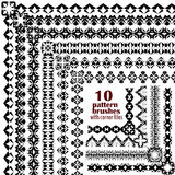 Vector set of geometric black borders in ethnic boho style. Collection of pattern brushes with corner tiles inside. Aztec tribal ornaments Royalty Free Stock Images