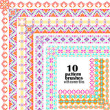 Vector set of geometric borders in ethnic boho style. Collection of pattern brushes with corner tiles inside Royalty Free Stock Images