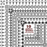 Vector set of geometric borders in ethnic boho style. Collection of pattern brushes with corner tiles inside. Aztec tribal ornaments Royalty Free Stock Images