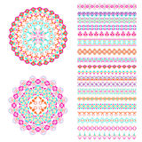 Vector set of geometric borders and mandalas in ethnic boho style. Collection of pattern brushes inside. Aztec tribal ornaments vector illustration