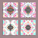 Vector set of geometric colorful backgrounds. Card templates for business and invitation Stock Photography