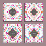 Vector set of geometric colorful backgrounds. Card templates for business and invitation. Ethnic, tribal, aztec style Royalty Free Stock Photography