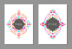Vector set of geometric colorful brochure templates for business and invitation. Ethnic, tribal, aztec style. A4 layout format Royalty Free Stock Photo