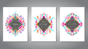 Vector set of geometric colorful brochure templates for business and invitation. Ethnic, tribal, aztec style. A4 layout format. Modern ethno ikat pattern vector illustration