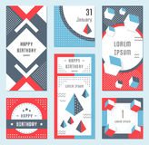 Vector Set Geometric Pattern, Flyers and Banners. Elegant modern flyers and cards with origami and geometric elements. Trendy Retro design poster, cover, card Stock Photos