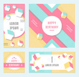 Vector Set Geometric Pattern, Flyers and Banners. Elegant modern flyers and cards with origami and geometric elements. Trendy Retro design poster, cover, card Royalty Free Stock Photography