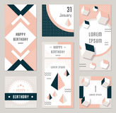 Vector Set Geometric Pattern, Flyers and Banners. Elegant modern flyers and cards with origami and geometric elements. Trendy Retro design poster, cover, card Royalty Free Stock Photo