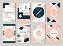 Vector Set Geometric Pattern, Flyers and Banners. Elegant modern flyers and cards with origami and geometric elements. Trendy Retro design poster, cover, card Royalty Free Stock Images