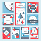 Vector Set Geometric Pattern, Flyers and Banners. Elegant modern flyers and cards with origami and geometric elements. Trendy Retro design poster, cover, card Stock Photo