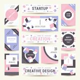 Vector Set Geometric Pattern, Flyers and Banners. Elegant modern flyers and cards with origami and geometric elements. Trendy Retro design poster, cover, card Royalty Free Stock Image