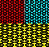 Vector set of geometric patterns from hexagons on a red and yell. Ow background. For fabrics and decoration of walls Royalty Free Stock Images