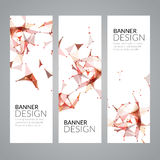 Vector set geometric polygonal banners. Technology modern business template. Royalty Free Stock Photos