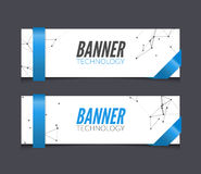 Vector set geometric polygonal banners. Technology modern business template. Royalty Free Stock Images