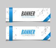 Vector set geometric polygonal banners. Technology modern business template. Royalty Free Stock Photo