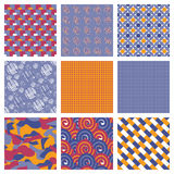 Vector Set of Geometric Seamless Pattern. stock illustration