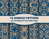 Vector set of geometric seamless patterns for design Stock Image